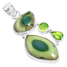 Natural green imperial jasper peridot 925 silver pendant jewelry p28511