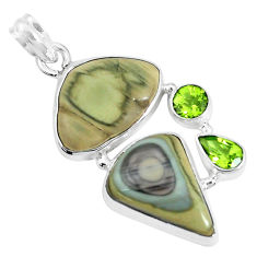 20.86cts natural green imperial jasper peridot 925 silver pendant jewelry p28514