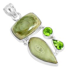23.48cts natural green imperial jasper peridot 925 silver pendant jewelry p28515