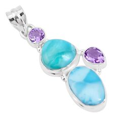 13.28cts natural blue larimar amethyst 925 sterling silver pendant p28606