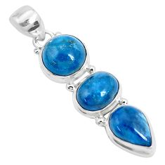 15.76cts natural blue apatite (madagascar) 925 sterling silver pendant p28611