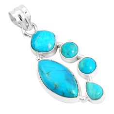 14.26cts green arizona mohave turquoise 925 sterling silver pendant p29042