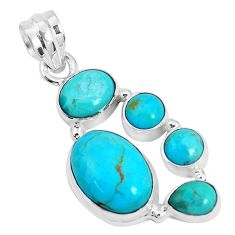 11.44cts green arizona mohave turquoise 925 sterling silver pendant p29045