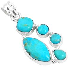 925 silver 14.72cts green arizona mohave turquoise marquise pendant p29056