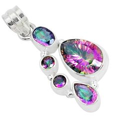 10.05cts multi color rainbow topaz 925 sterling silver pendant jewelry p29075