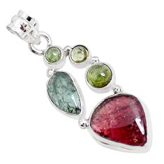925 sterling silver 10.60cts natural tourmaline fancy pendant p29409