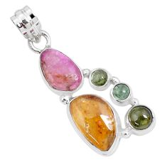 10.84cts natural tourmaline 925 sterling silver pendant p29411