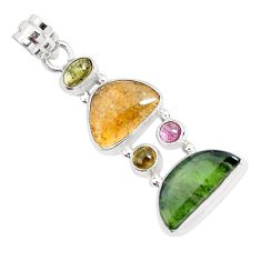10.85cts natural multi color tourmaline 925 sterling silver pendant p29416