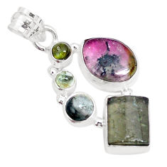 9.86cts natural multicolor tourmaline 925 sterling silver pendant jewelry p29429
