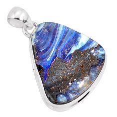 925 sterling silver 21.48cts natural brown boulder opal fancy pendant p29458