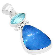 10.78cts natural blue doublet opal australian topaz 925 silver pendant p29521