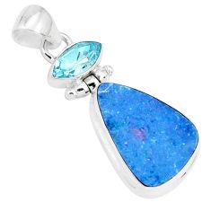 10.78cts natural blue doublet opal australian topaz 925 silver pendant p29538