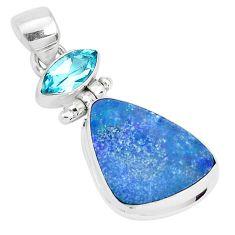 925 silver 10.29cts natural blue doublet opal australian topaz pendant p29540