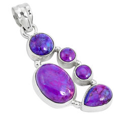11.02cts purple copper turquoise 925 sterling silver pendant jewelry p29672