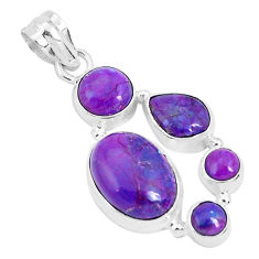 11.00cts purple copper turquoise 925 sterling silver pendant jewelry p29674