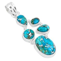 11.00cts blue copper turquoise 925 sterling silver pendant jewelry p29682
