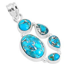 10.64cts blue copper turquoise 925 sterling silver pendant jewelry p29683