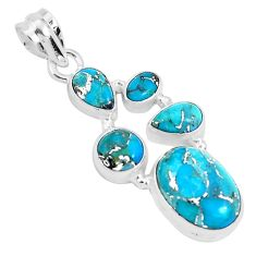 11.02cts blue copper turquoise 925 sterling silver pendant jewelry p29686