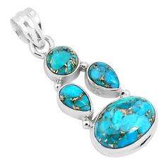 925 sterling silver 10.01cts blue copper turquoise oval pendant jewelry p29690