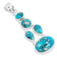 11.02cts blue copper turquoise 925 sterling silver pendant jewelry p29695