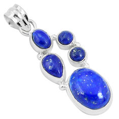 11.93cts natural blue lapis lazuli 925 sterling silver pendant jewelry p29726