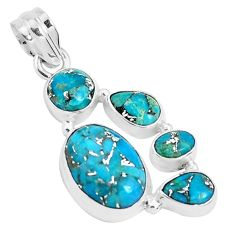 10.37cts blue copper turquoise 925 sterling silver pendant jewelry p29737