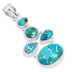 11.02cts blue copper turquoise 925 sterling silver pendant jewelry p29740