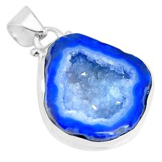 925 sterling silver 18.46cts natural blue geode druzy pendant jewelry p29824