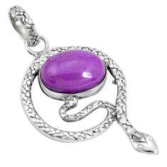 7.07cts natural purple phosphosiderite 925 silver snake pendant p29963