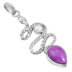 7.51cts natural purple phosphosiderite pearl 925 silver snake pendant p29969