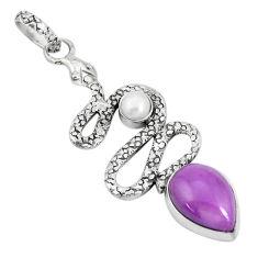 5.79cts natural purple phosphosiderite pearl 925 silver snake pendant p29972