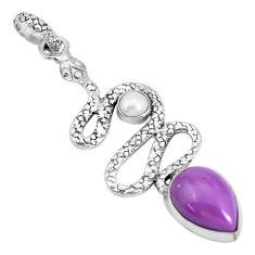 925 silver 6.92cts natural purple phosphosiderite pearl snake pendant p29973
