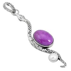 6.10cts natural purple phosphosiderite pearl 925 silver snake pendant p29977