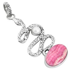 7.51cts natural pink rhodochrosite inca rose 925 silver snake pendant p29996