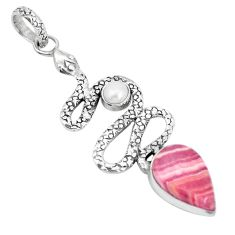 925 silver 8.96cts natural pink rhodochrosite inca rose snake pendant p29999