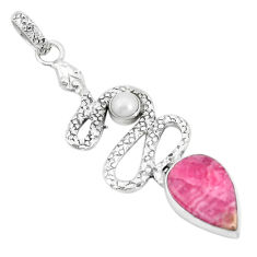 8.96cts natural pink rhodochrosite inca rose 925 silver snake pendant p30000