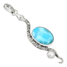 8.77cts natural blue larimar pearl 925 sterling silver snake pendant p30006