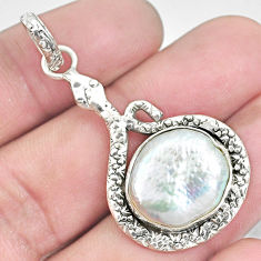 9.86cts natural white pearl 925 sterling silver snake pendant jewelry p30020