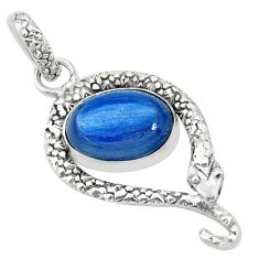 6.02cts natural blue kyanite 925 sterling silver snake pendant jewelry p30042