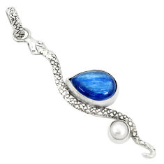 925 sterling silver 5.82cts natural blue kyanite pearl snake pendant p30049