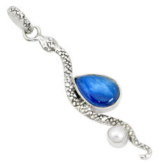 5.82cts natural blue kyanite pearl 925 sterling silver snake pendant p30050