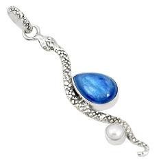 925 silver 6.10cts natural blue kyanite pear shape pearl snake pendant p30052