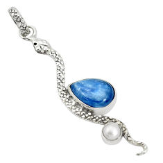 925 sterling silver 5.54cts natural blue kyanite pearl snake pendant p30054