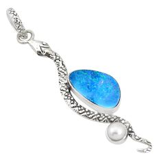 5.02cts natural blue doublet opal australian 925 silver snake pendant p30055