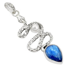 7.13cts natural blue kyanite pearl 925 sterling silver snake pendant p30059