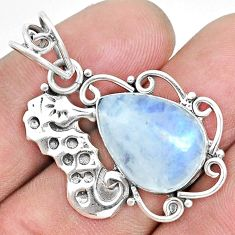 925 sterling silver 10.31cts natural rainbow moonstone seahorse pendant p30436