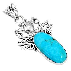 9.83cts natural blue kingman turquoise 925 sterling silver owl pendant p30445