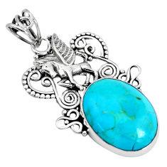 15.47cts natural blue kingman turquoise 925 silver unicorn pendant p30447