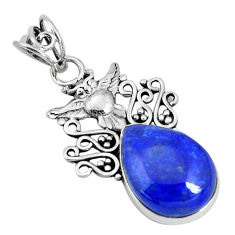 13.66cts natural blue lapis lazuli 925 sterling silver owl pendant p30457