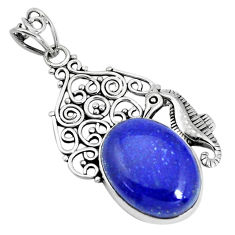 17.38cts natural blue lapis lazuli 925 sterling silver seahorse pendant p30458